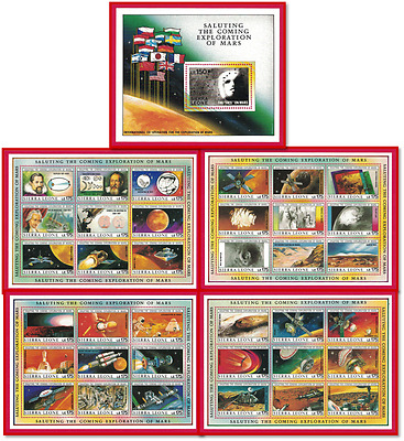 (70) Sets - 1990 Sierra Leone #1167a-1171a Exploration of Mars - 5 S/S Per Set