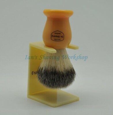 Dr Shaving Synthetic Fiber Shaving Brush Butterscotch Handle Free Stand Include