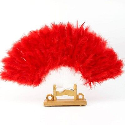 Showy Large Feather Folding Hand Fan For Show Wedding Showgirl Dance Red