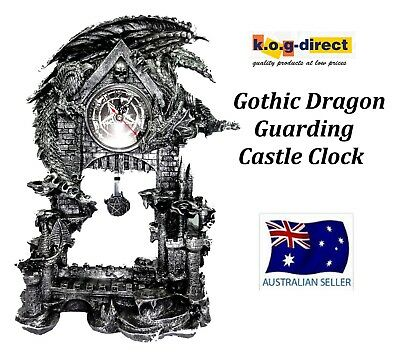Gothic Silver Black Dragon On Castle Clock With Pedulum 33Cm New Draggclock