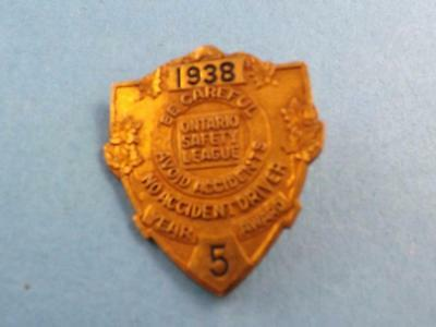 1938 Ontario Safety League Safe Driver Award 5 Year No Accident Vintage Pin Back