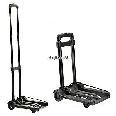 Folding Trolley Platform Cart Platform Truck Luggage 2 Directional wheel Black
