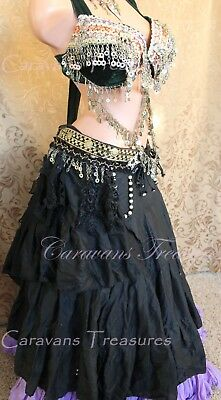 Black Wrap Skirt Gypsy Tribal Fusion Belly Dance ATS