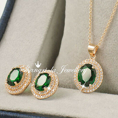 18K GOLD GF EMERALD NECKLACE EARRINGS Wedding SET With SWAROVSKI DIAMOND L342
