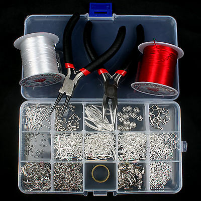 Hot DIY Jewellry Making Starter Kits Beads Plier Cord Tool Set Silver Plated