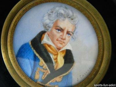19th Century SIGNED Hand Painted Miniature Portrait of Affluent Gentleman ANTIQU