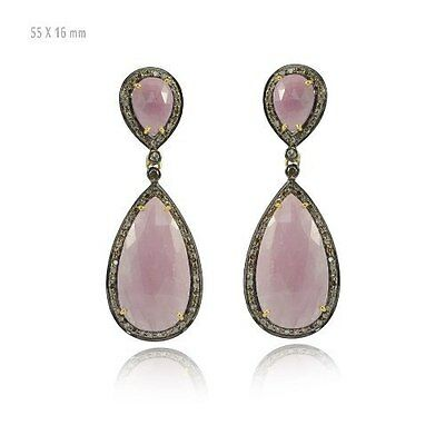 Pave Diamond Pink Sapphire Gemstone Drop Earrings 925 Silver Antique Jewelry
