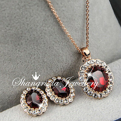 18K GOLD GF Womens RED RUBY Birthstone NECKLACE SET With SWAROVSKI CRYSTAL L346