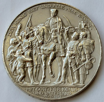 German States Prussia 3 Mark, 1913, 100 Years - Defeat of Napoleon