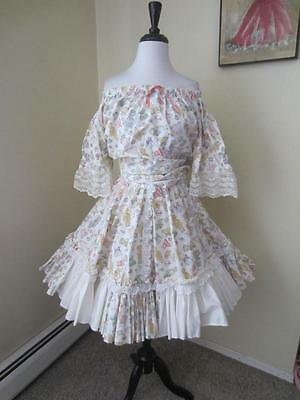 Vintage Square Dance Dress Skirt Top Baby Dolls Dress Up  Frilly Sissy L XL