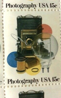 Vintage 1978 PRO Framed Sheet of USA Stamps Camera Photography Equipment GREAT