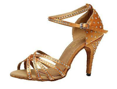 Women's Diamond Latin Dance Shoes Gold Soft Sole Ballroom High Heel Salsas Shoes