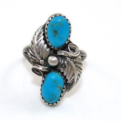 Native American Sterling Silver Blue Turquoise Vintage Ring Size 6.25