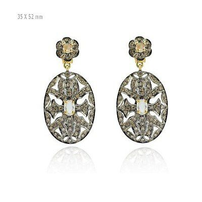 925 Sterling Silver Pave Diamond Moonstone Earrings Antique Jewelry