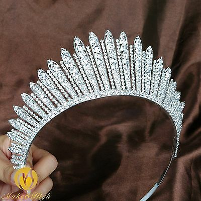 Awesome Beauty Pageant Tiara Crown Clear Crystals Brides Headband Wedding Prom