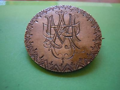 Canada Victoria Half Fancy Engraved Love Token Charm Broach Folk Art