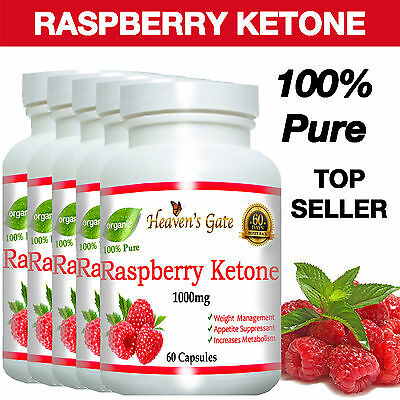 5 PACK RASPBERRY KETONE COLON CLEANSER FAT BURNER DIET WEIGHT LOSS 1000mg PURE#
