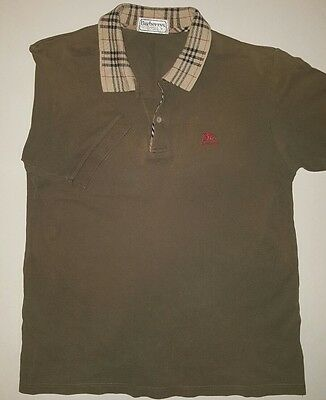 Burberry London Polo Shirt mens size large vintage olive polo