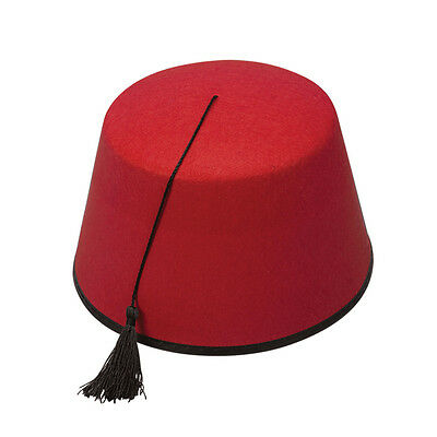 Adult Turkish Red Fez Hat with Tassel Fancy Dress Accessory