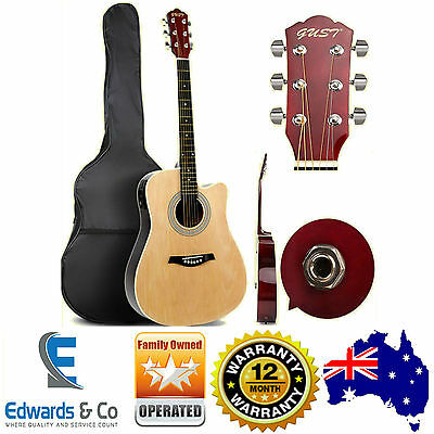 Beginners Guitar Acoustic Student Guitar Pack Natural Cutaway Dreadnought Wooden