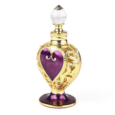 Vintage Purple Gold Heart Shaped Metal Crystal Refillable Empty Perfume Bottle