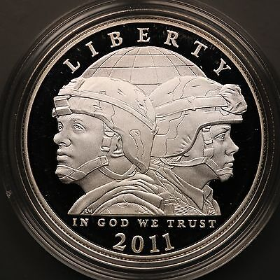 2011-P US Army Commemorative PROOF 90% Silver Dollar Coin with Box and COA