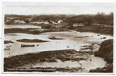 Old Real Photo Postcard,  Portelet And Rocquaine Bay, Guernsey.     140