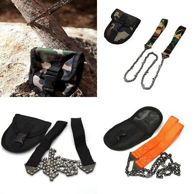 Portable Hand Chain Saw Tool Wire Camping Hiking Survival Emergency Outdoor +Bag