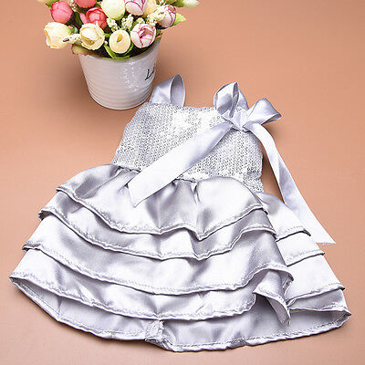 Fashion Handmade Gray Sequined Bow Dress Clothes for 18inch American Girl Doll