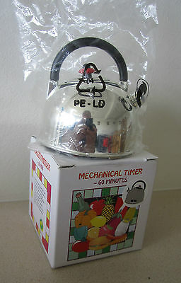 Novelty mechanical 60 minute kitchen timer-in the shape of a Kettle. Brand New