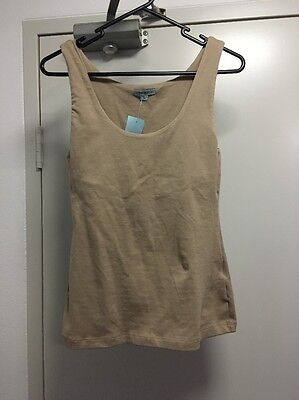 Kookai Beige Fitted Summer Tank Top Size 2 Fits 8-10