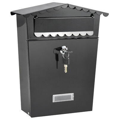 Hanging Locking Wall Mount Mailbox Letterbox Postbox Post Outdoor Outside Metal