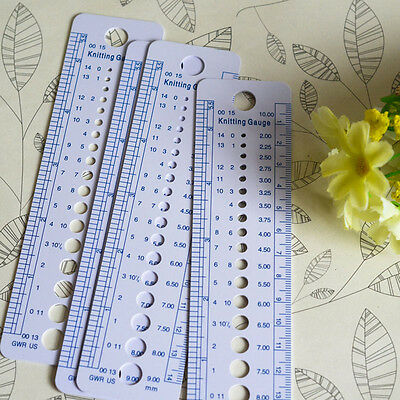 2pcs Knitting Needle Pin Gauge Sizer Ruler