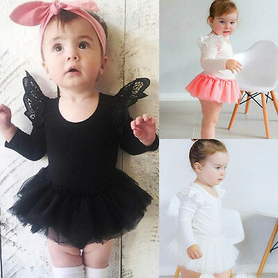 Newborn Baby Girls Lace Romper Jumpsuit Tutu Dress Bodysuit Outfit Kids Clothes