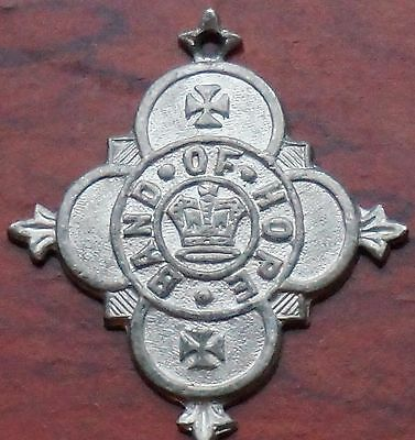 Band of Hope medal, with anchor on reverse, white metal , 32mm wide. EF.