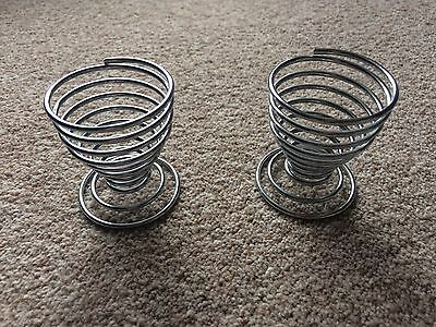 Silver Coloured Pair Of Spring Egg Cups