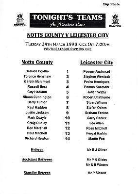 Teamsheet - Notts County Reserves v Leicester City Reserves 1997/8