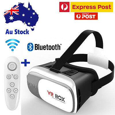 3D VR Box 2.0 Virtual Reality Glasses Headset  Goggles Bluetooth With Remote Aus