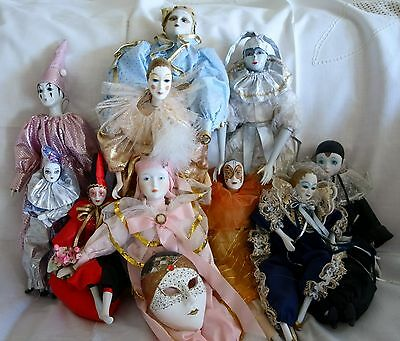 Giant lot of 10 beautiful harlequin jester dolls + extra