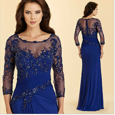 Long Blue Beading Pleat  Mother Of The Bride Dresses Evening Party Gown 2017 New