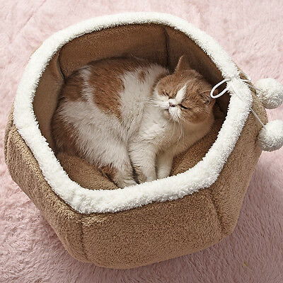 Pet Cat Dog Small Puppy House Igloo Warm Cushion Basket Cat Sleeping Bag Bed