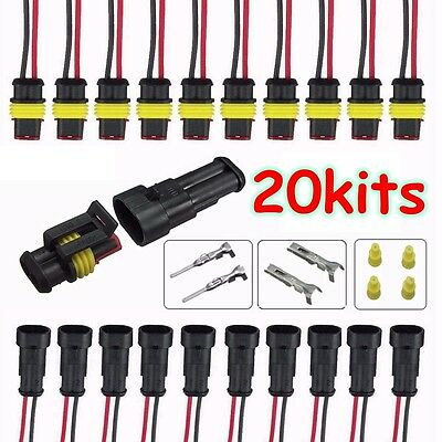 20Kit 2 Pin Way Waterproof Sealed Electrical Wire Connector Socket Plug Terminal