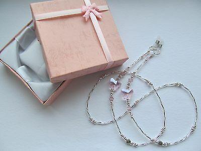 ~ PINK BUTTERFLY ~ Beaded Spectacle Glasses Chain Eyeglass Holder GIFT BOXED
