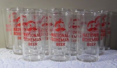 Vintage Set of 12 National Bohemian Beer Glasses ~ All in Great Condition