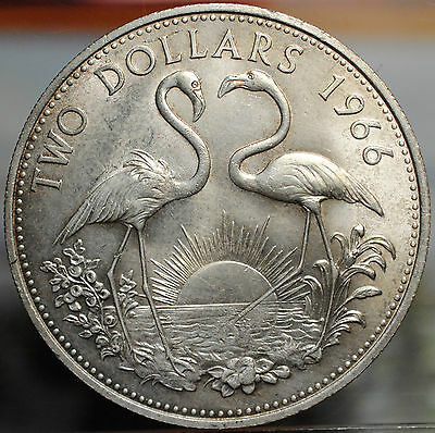 1966 Bahama Islands Two Dollars Coin - Two Flamingos, 92.5% Silver