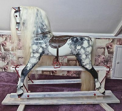 Beautiful childrens shabby chic style wooden rocking horse