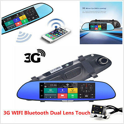"7"" HD1080P Android5.0 CAR DVR Rearview Mirror Dash Camera Dual Lens 3G WIFI GPS"