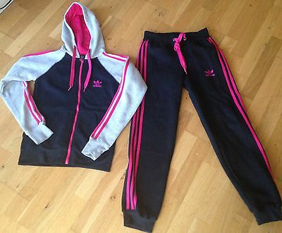 Adidas Girls 3 Stripe Hooded Jogging Track Suit Pink/Grey/Black, size S age11-12