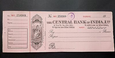 Nice colonial indian cheque from 1950s mint unused with counterfoil
