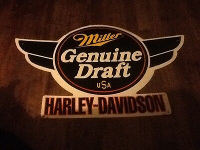Harley  Davidson Miller Genuine Draft Wings Beer Tin Sign MAN  WOMAN CAVE SIGN